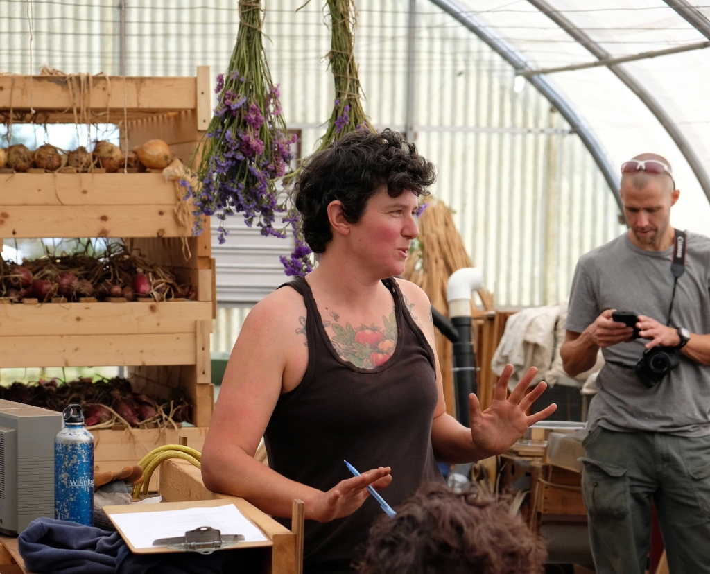 Mel Sylvestre teaching about seeds at UBC Farm.