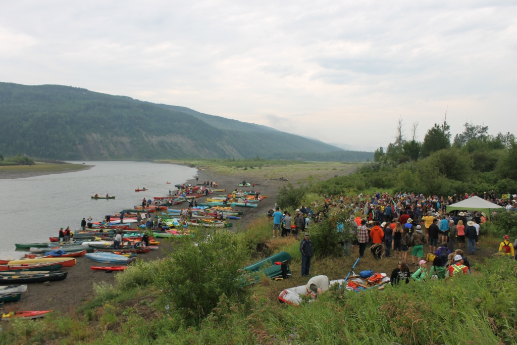 Canoes along the Peace River in the fertile Peace River Valley