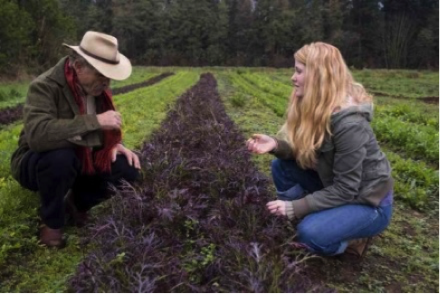 Emma Holmes with her farm mentor, John Wilcox, at UBC Farm Sept 2008