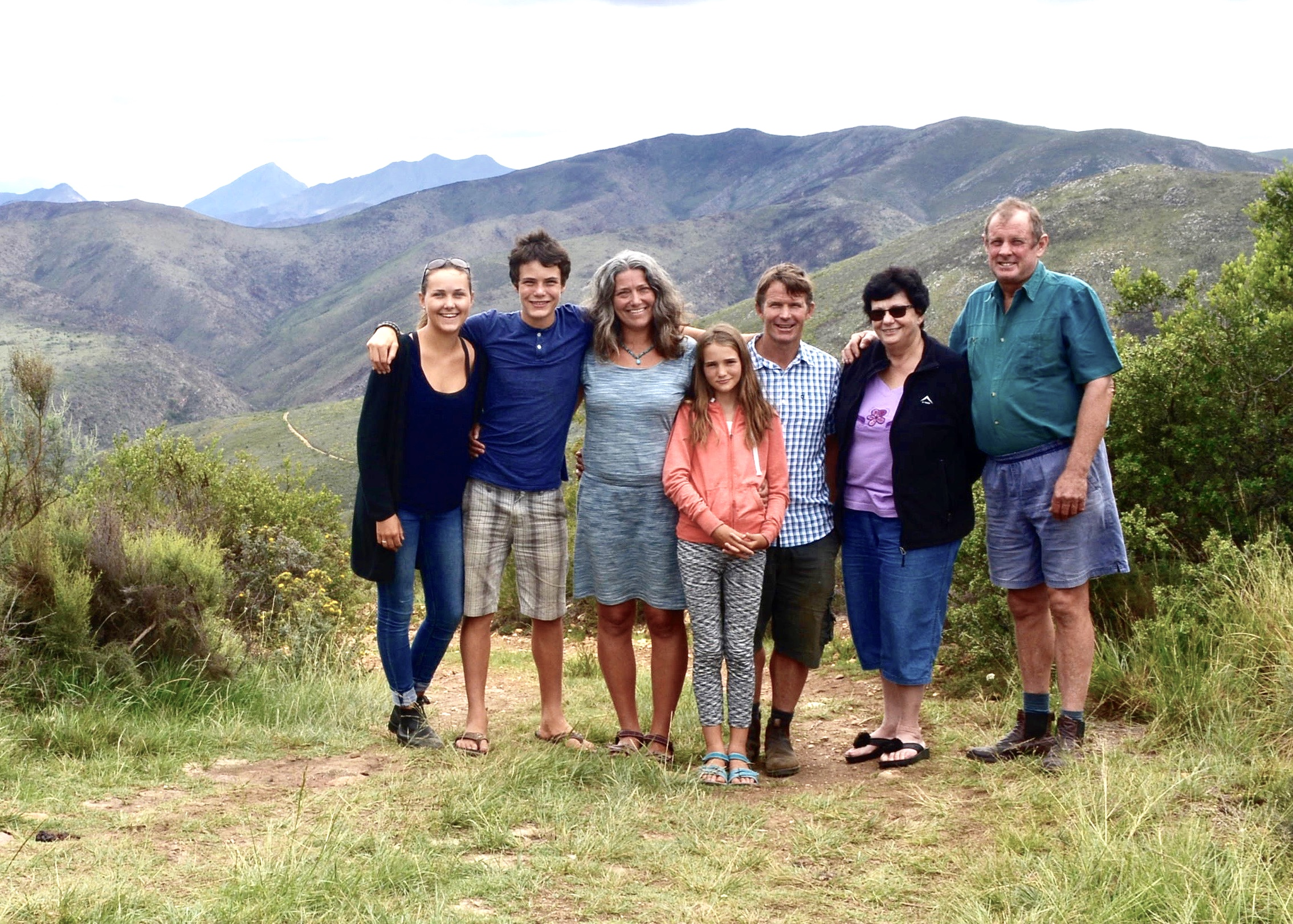 Harvey family with Wild Mountain Honeybush farmers in South Africa